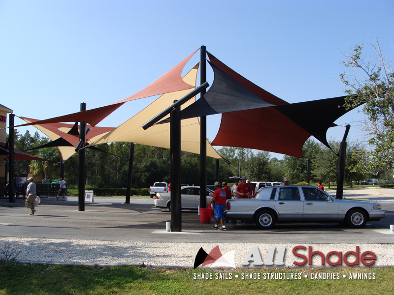 Carwash shade structure shade sail canopy awning 4 for Shade sail cost